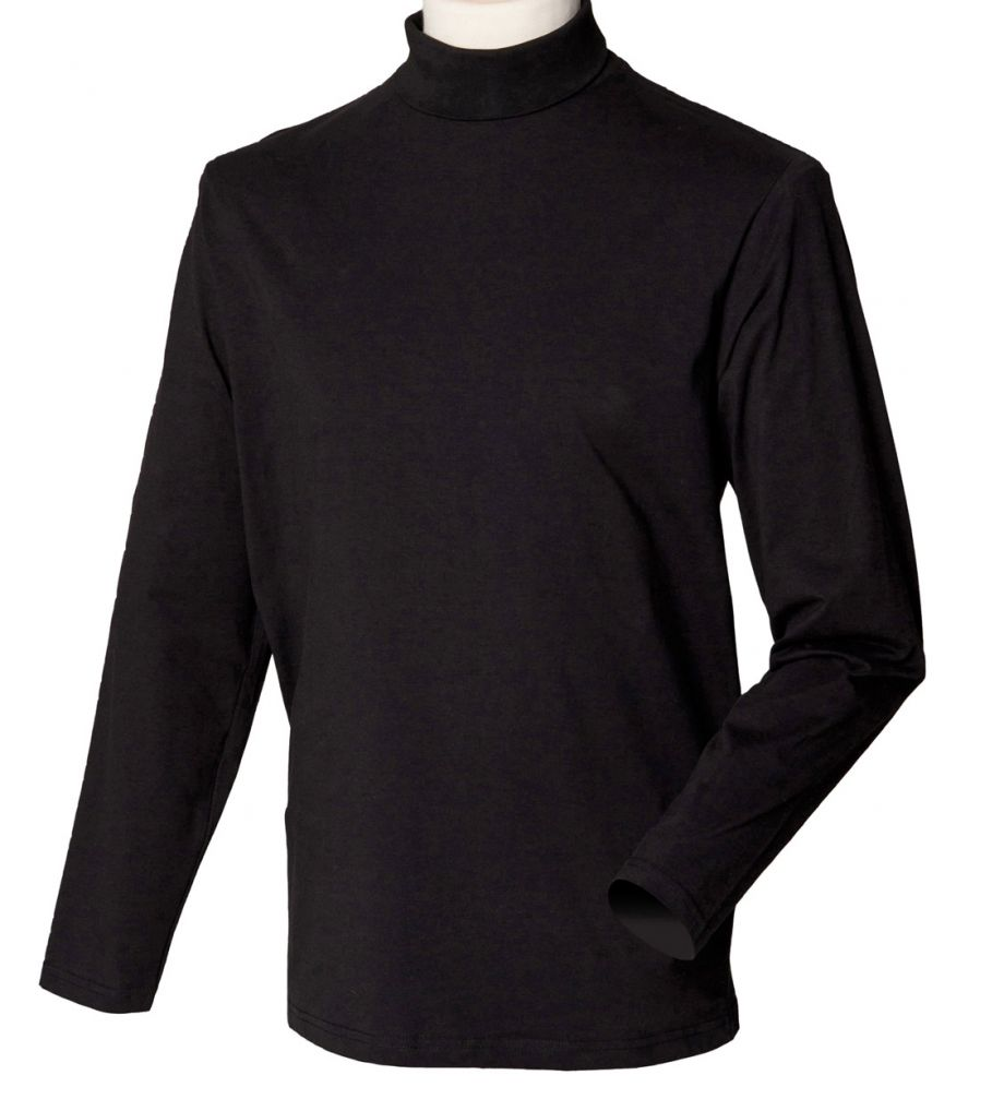 henbury t shirt col lange mouwen heren hb w020 zwart. Black Bedroom Furniture Sets. Home Design Ideas